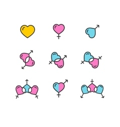 Gender Color Icon Set Shape Heart vector image