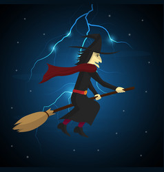 halloween witch flying on broom and thunderbolt vector image