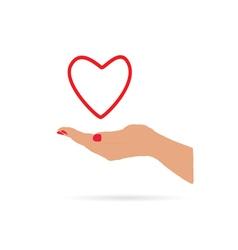 heart in hand love vector image vector image