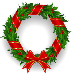 Holly wreath with a red ribbon vector