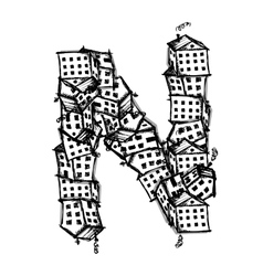 Letter n made from houses alphabet design vector