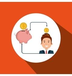 Man cartoon piggy currency money vector