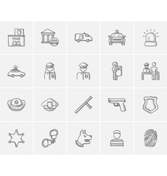 Police sketch icon set vector image