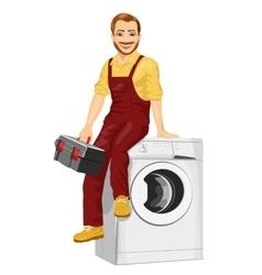 Repairman sitting on a washing machine vector