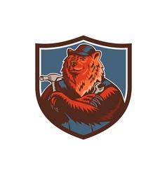 Russian bear builder handyman crest woodcut vector