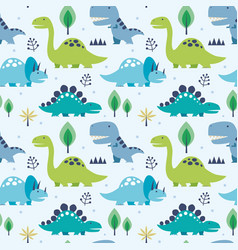 Seamless pattern dinosaurs vector