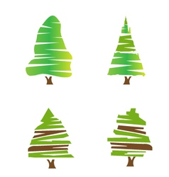 Set of green trees vector image vector image