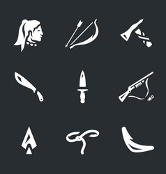 set of indians weapons icons vector image