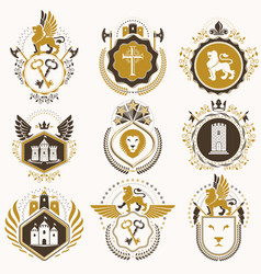set of vintage elements heraldry labels stylized vector image vector image