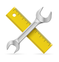 spanner and ruler on white background vector image