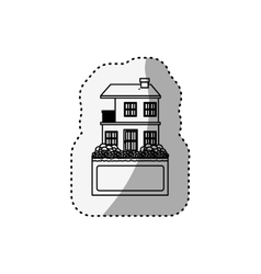 sticker silhouette apartment with two floors vector image vector image