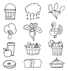 Stock collection thanksgiving hand draw doodles vector