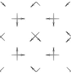swords pattern seamless black vector image
