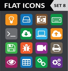 Universal Colorful Flat Icons Set 8 vector image