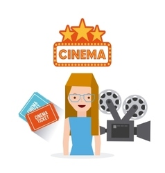 Cinema entertainment set flat icons vector