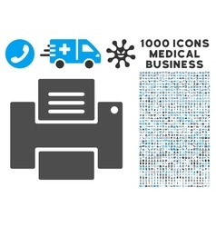 Printer icon with 1000 medical business pictograms vector