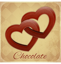 Retro card with chocolate hearts vector