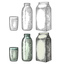 Milk box carton package glass and bottle vector
