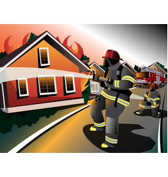 firefighters try to extinguish burning houses vector image