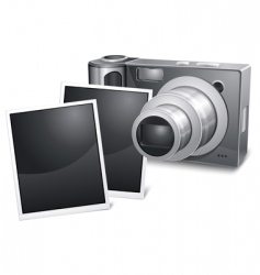 Photo camera with sliding vector
