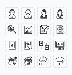 Flat icons set of business finance technology vector