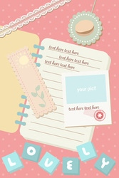 Cute pastel notebook and postcard polaroid picture vector