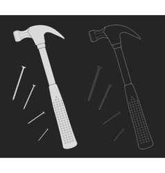 Claw hammer with steel nails chalk vector