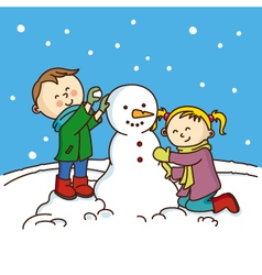 Children making a snowman vector