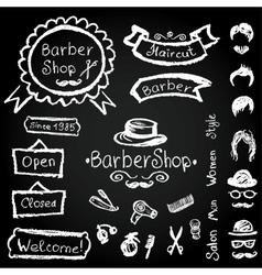 Set of design barbershop hipster hairdresser vector