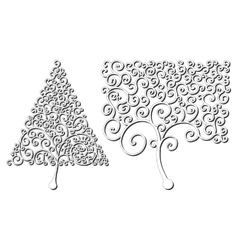 Trees of different shapes of curls design element vector