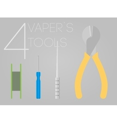 4 vaper tools set vector