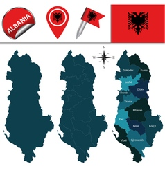 Albania map with named divisions vector