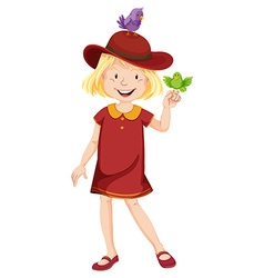 Little girl in red dress and hat vector