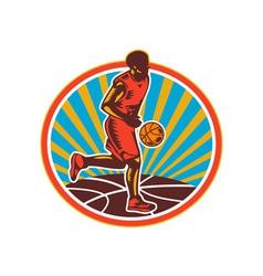 Basketball Player Dribbling Ball Woodcut Retro vector image vector image