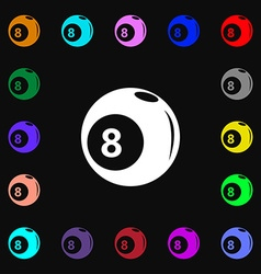 Billiards icon sign Lots of colorful symbols for vector image