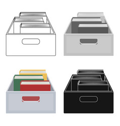 Books in box icon in cartoon style isolated on vector