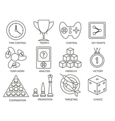Business gamification icons vector