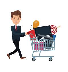 Business man pushing shopping cart full vector