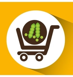 cart buy vegetable pea icon vector image