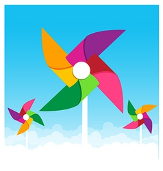 Colorful paper wind turbine on blue sky background vector