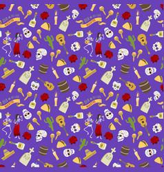Colorful symbols for dia de los muertos day of the vector