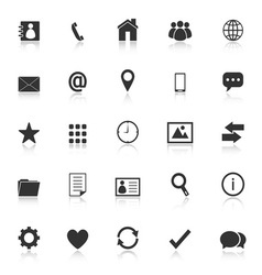 Contact icons with reflect on white background vector image