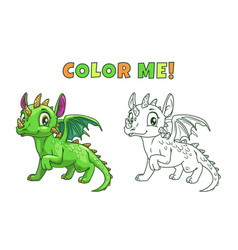 Cute cartoon green dragon vector