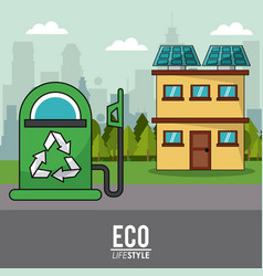 Eco lifestyle gas pump and house solar panel vector