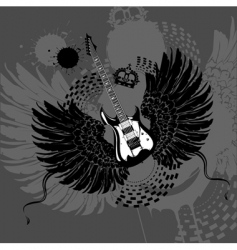 flying guitar vector image vector image