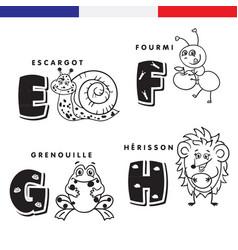 French alphabet snail ant frog hedgehog vector