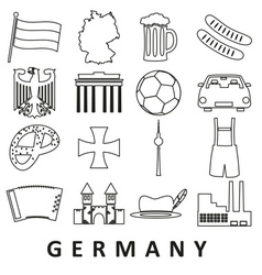 Germany country theme outline icons set eps10 vector