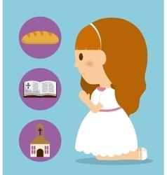 Girl kid cartoon bread bible church icon vector