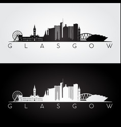 Glasgow skyline and landmarks silhouette vector