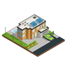 Green eco house isometric vector